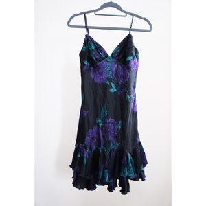 Vtg Betsey Johnson Silk Ruffle Floral Slip Dress
